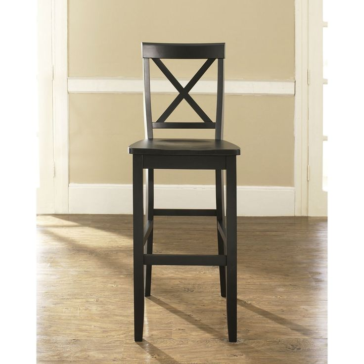 Set of 2 X Back Solid Wood inch Barstools in Black Finish