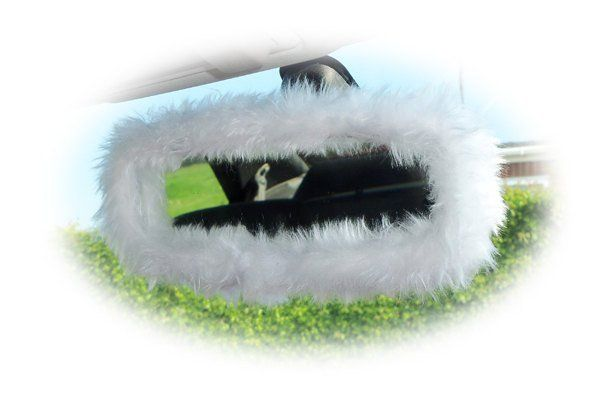 Pretty fluffy White faux fur rear view mirror cover cute fuzzy and furry