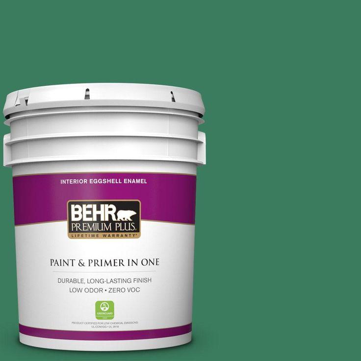 BEHR Premium Plus 5 gal. #470D-6 Greenbelt Zero VOC Eggshell Enamel Interior Paint