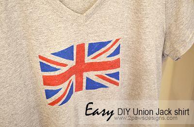easy DIY Union Jack shirt ~ 2paws Designs #diy #england