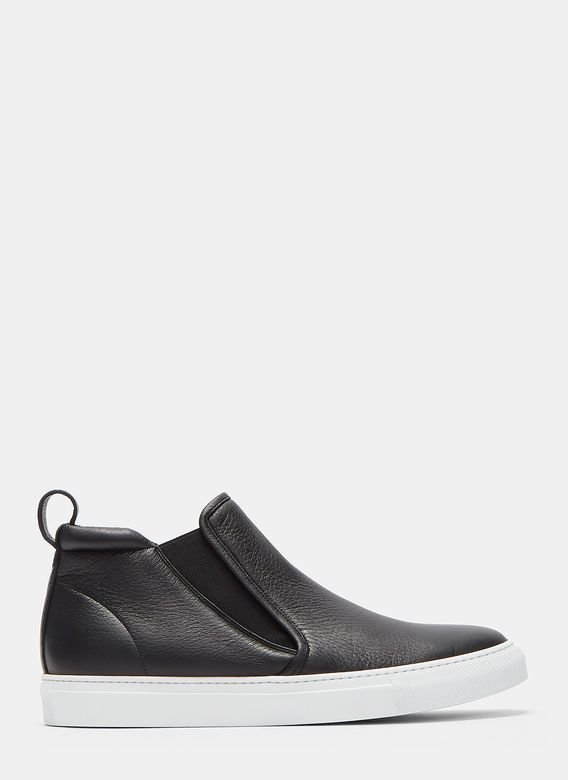 Men's Designer Trainers Shoes   Discover Now LN-CC - High-Top Slip-On Grained Leather Sneakers