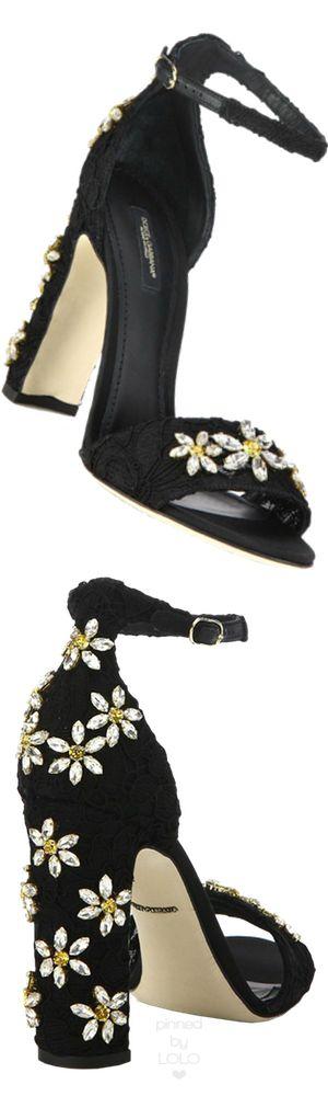 Dolce & Gabbana Daisy Embellished Lace Sandals | LOLO❤︎