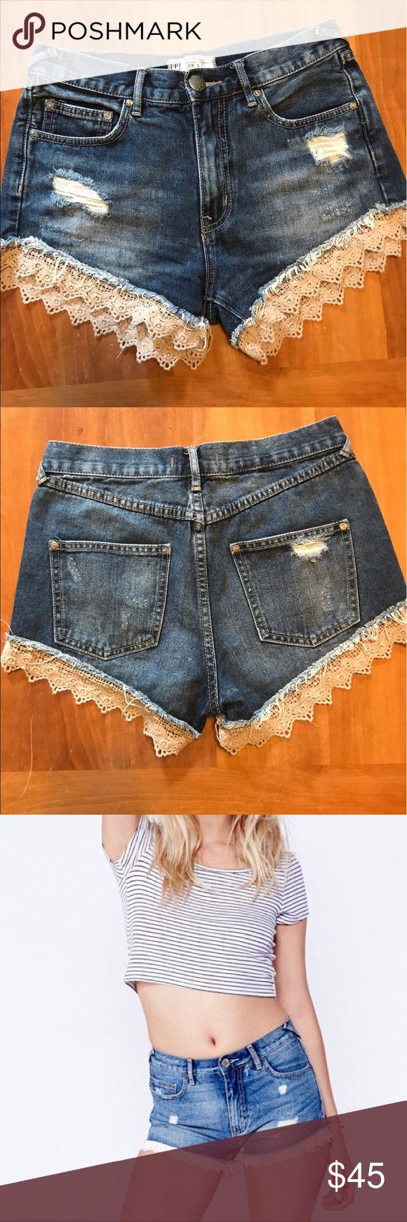 Free People Lace Denim Shorts Size 25 classic lace denim shorts. Gently worn. Free People Shorts Jean Shorts
