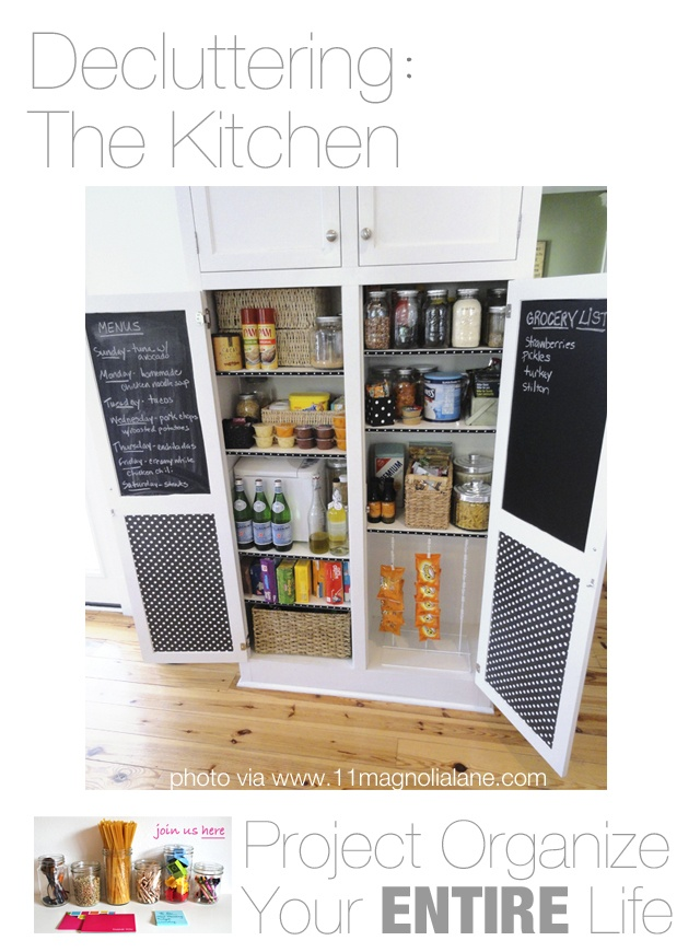 Paint the inside of cabinet doors with chalk paint for a place to write grocery lists and weekly menus!  Modern Parents Messy Kids: POYEL: Decluttering