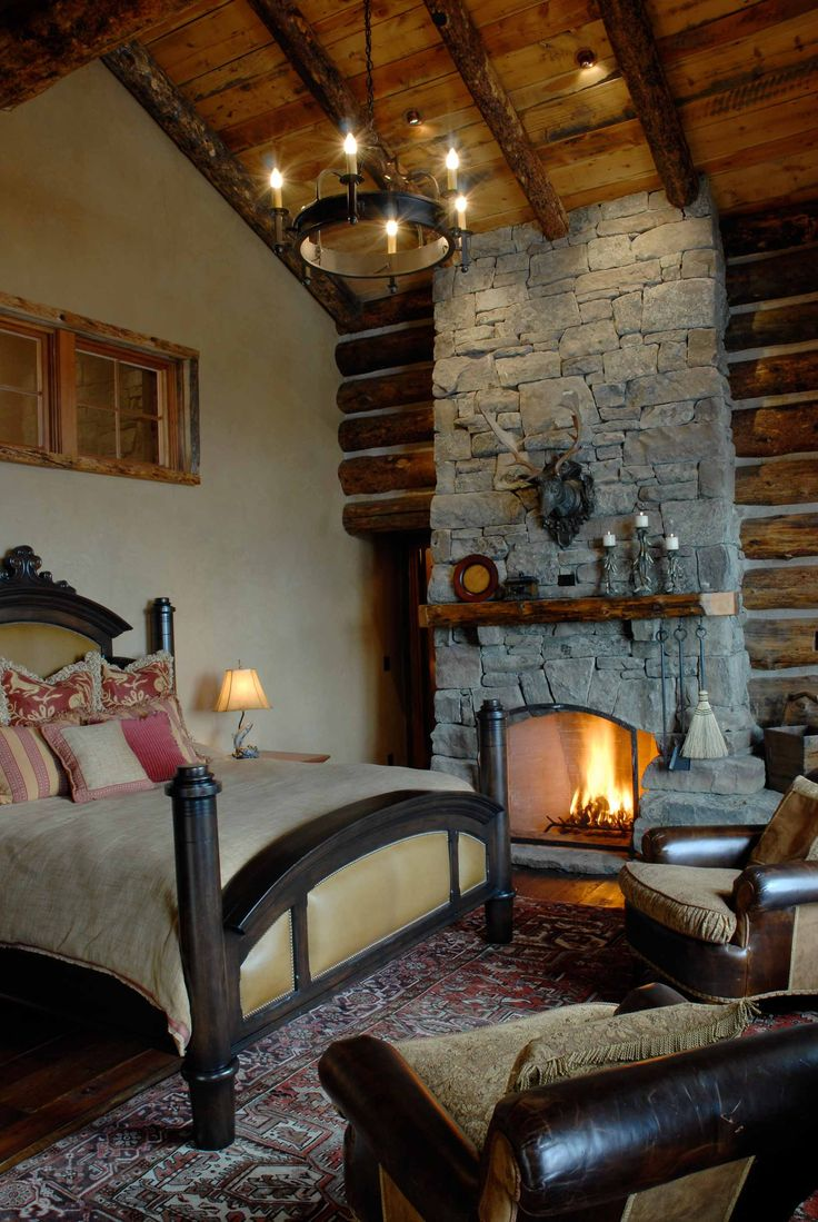 Bedroom stone fireplace - Perfect Blend Of Rustic Sophistication