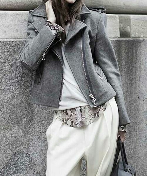 #layers: Girls, Grey And White, Fifty Shades Of Grey, Fashion Styles, Street Style, Fashion Jackets Coats, Love It, Harems Pants, Biker Jackets Grey