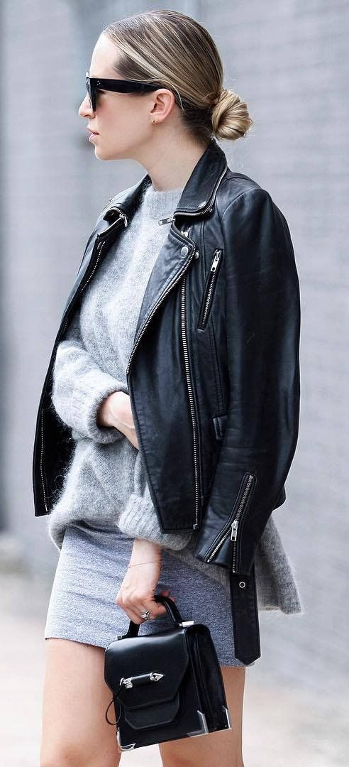 black and grey | moto jacket + cashmere sweater + skirt + bag