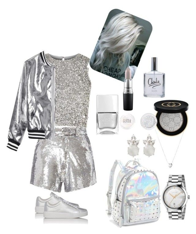 """metalic silver"" by jellianebuizon ❤ liked on Polyvore featuring Lace & Beads, IRO, Sans Souci, Bari Lynn, Prada Sport, Gucci, Links of London, Topshop, Nails Inc. and MAC Cosmetics"
