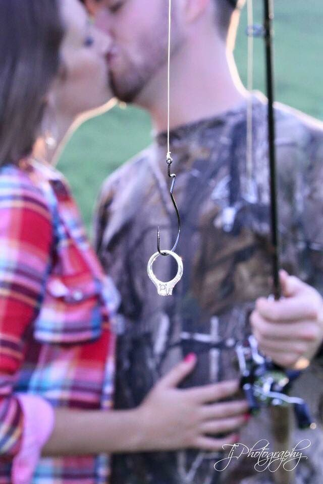 Cute fishing engagement photo