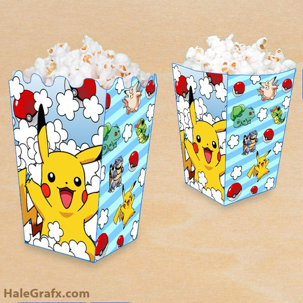 FREE Printable Pokémon Popcorn Box