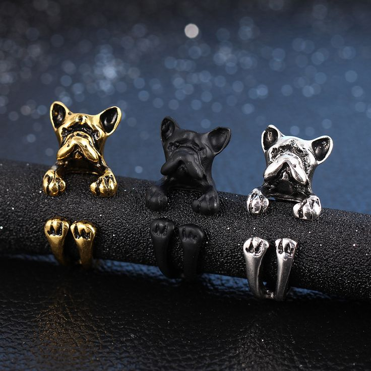 Kittenup Cute French Bulldog Puppy Dog Open-end Wrap Rings In Silver Color Black  Bronze Color New Fashion Jewelry