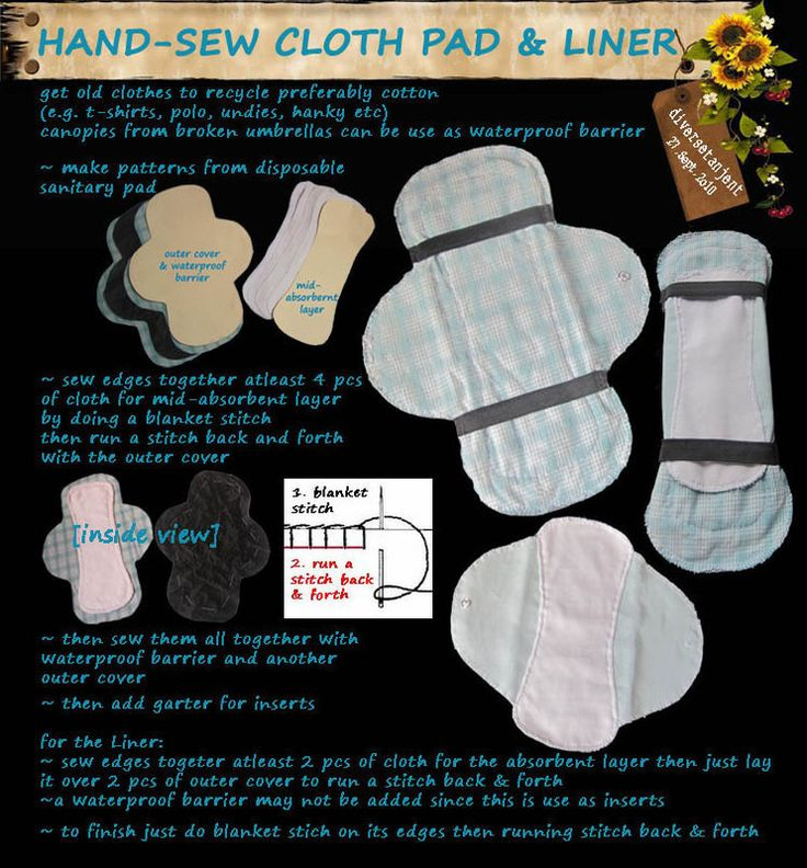 Hand Sew Cloth Pad--yep, you've now seen almost everything upcycled.  Hey, worth a try, right?