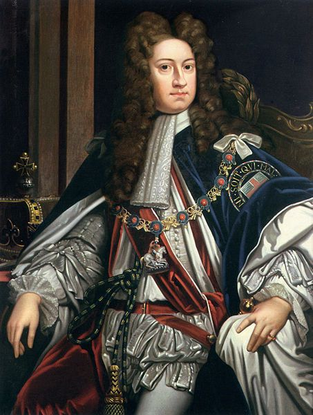 Painted by Godfrey Kneller 1714.  George I reigned from 1714-1727.  He married his cousin, Sophia Dorothea.  Their marriage was later dissolved.