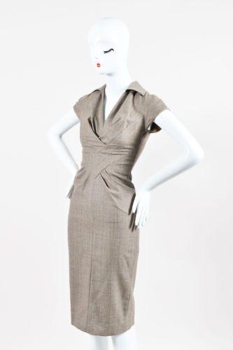 Salvatore-Ferragamo-Brown-amp-Taupe-Virgin-Wool-Pleated-Cap-Sleeve-Dress-SZ-38