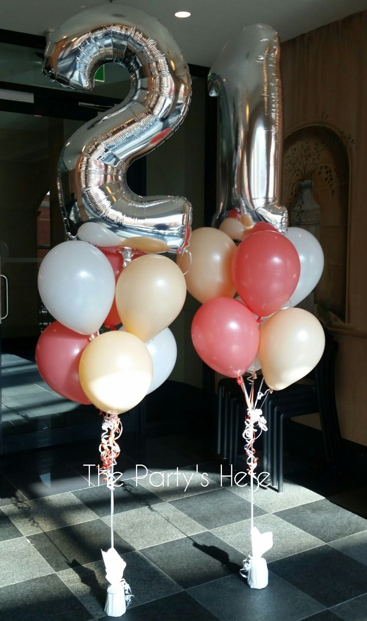 Balloon Bouquets with Megaloon Toppers for a 21st Birthday. Colours are white, blush and coral. So in fashion right now!  www.thepartyshere.com.au  #21 #21stbirthday #balloons #heliumballoons #balloonbouquets #blush #coral #peach
