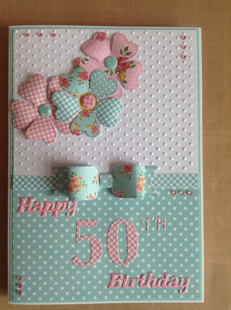 50 th birthday card using craftwork cards kitsch flowers