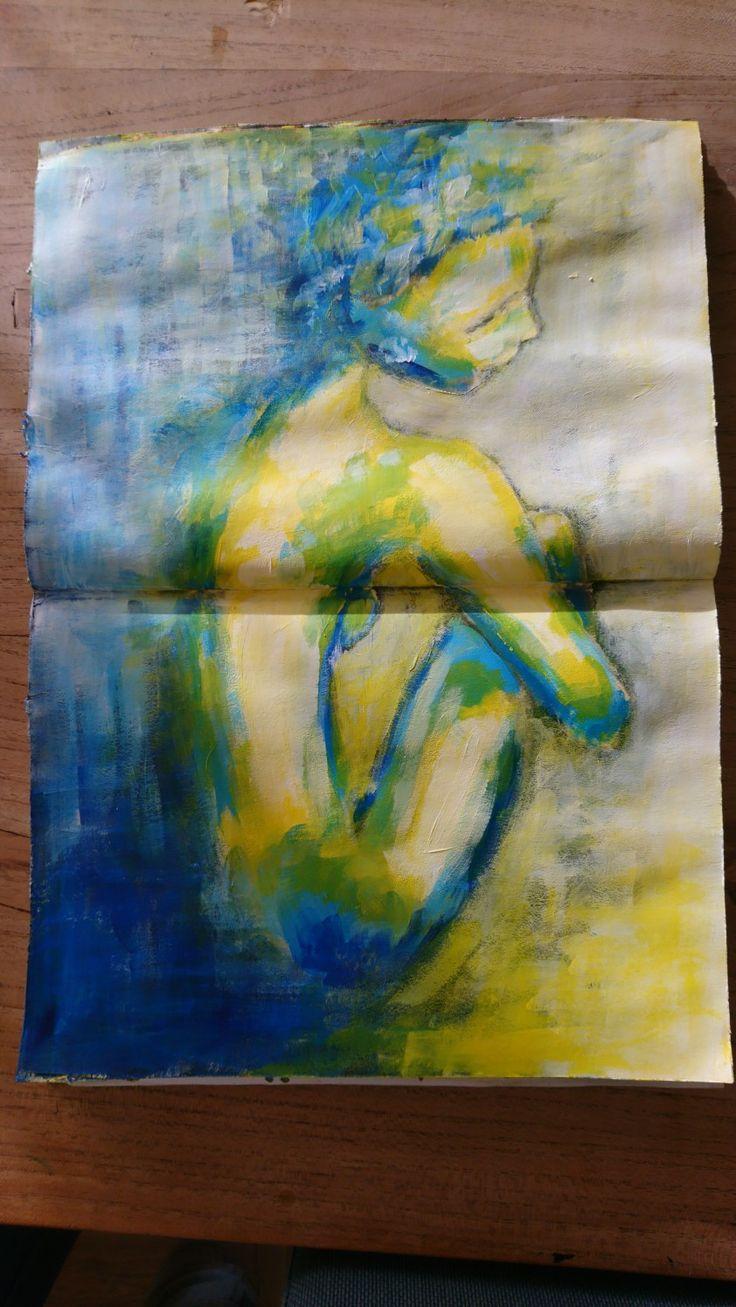 Schets vrouw figuur. Acryl verf.  Women figure painting.  Artist: liselore gomes art