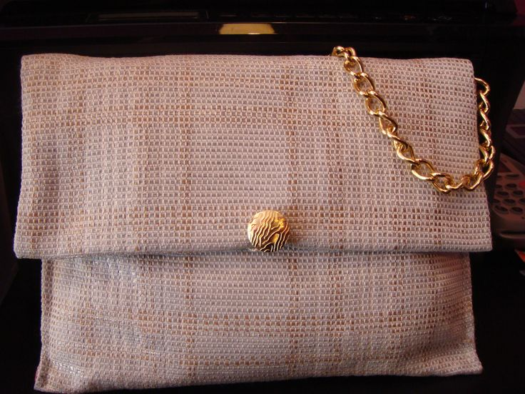 Upcycled Handbag Party Bag Tweedty Upholstery Luxury Fabric Cream Light Brown Recycled Accessories