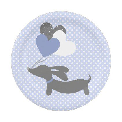 Dachshund Blue Baby Shower Paper Plates Polka Dots - baby gifts child new born gift idea diy cyo special unique design