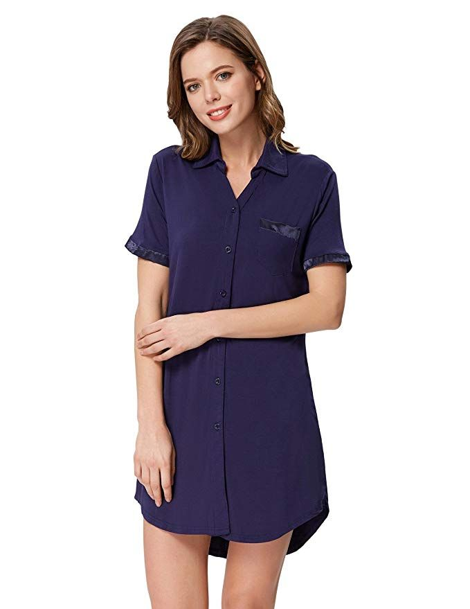 3854ad350 Zexxxy Women's Plus Size Pajamas Nightshirt Pan-Collar Thermal Top Navy  Blue 2XL #Chemise