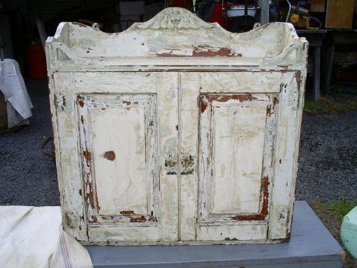 Antique Primitive Wood Cupboard Shelves Locking Key Cabinet Old White Paint - 299 Best Worn Wonderful White Wood Images On Pinterest Antiques