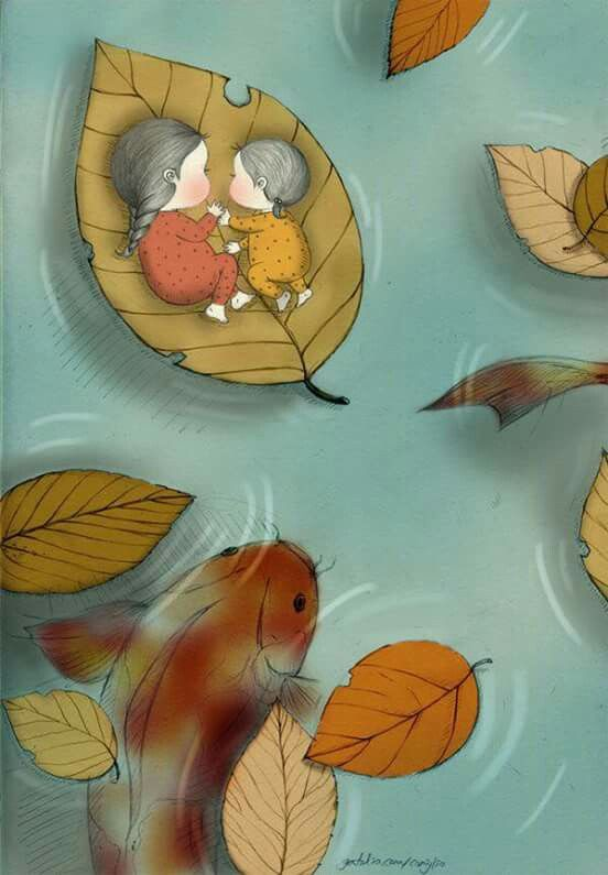 Illustration of two children sleeping on a floating leaf with a koi goldfish beneath