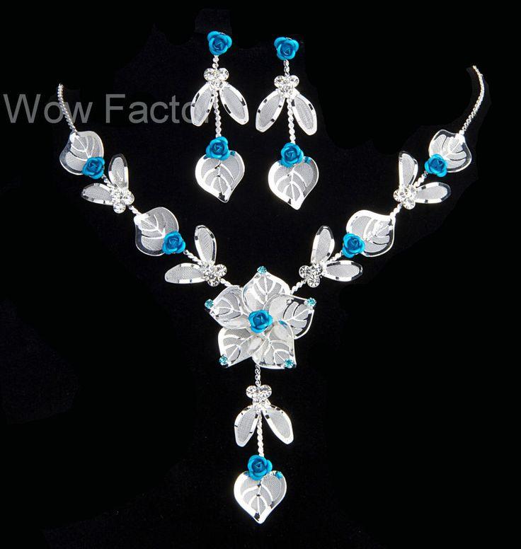 Rose Diamante Silver Plated Wedding Bridal Bridesmaid Jewellery Set