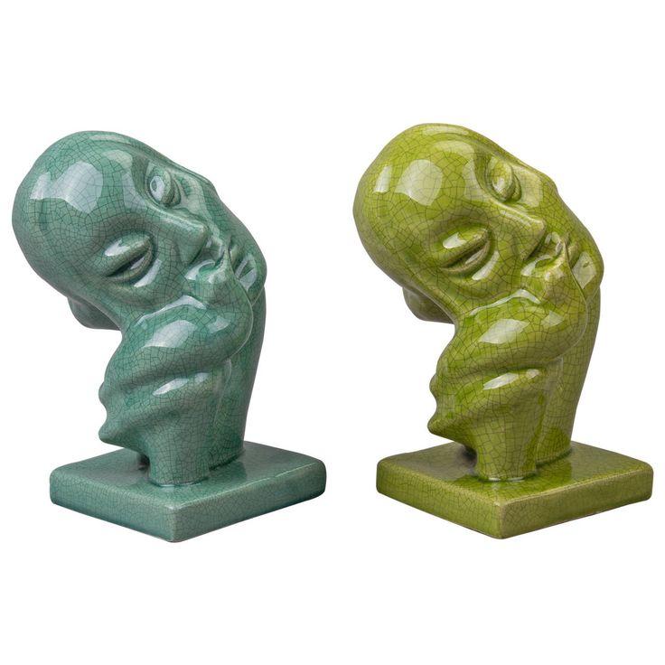 Pair of Geza Gorka Kiss of a Swan Art Deco Art Pottery Figurines, 1930-1940 | 1stdibs.com