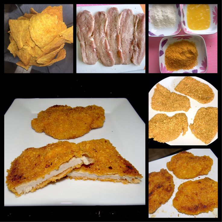 Schnitzel oder Hähnchen kann man unglaublich lecker mit Tortillachips(gewürzt nach Geschmack) panieren!!!