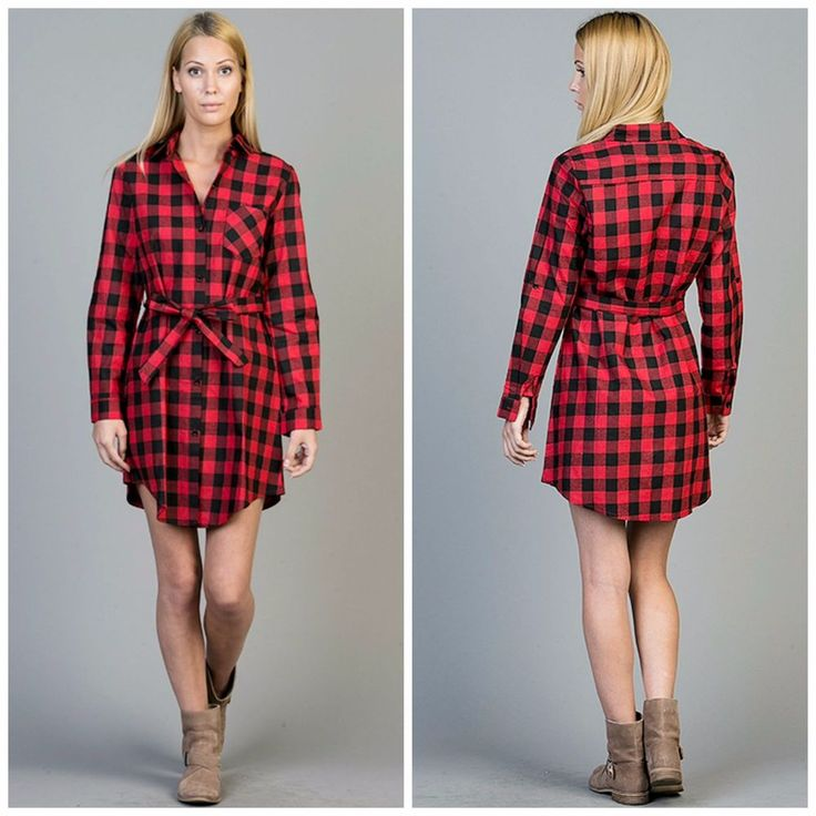 Black plaid shirt dress