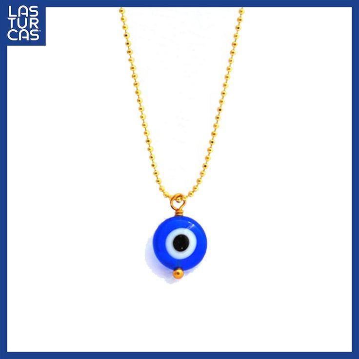Collar protección en oro Goldfield con ojo turco en azul. #OjoTurco