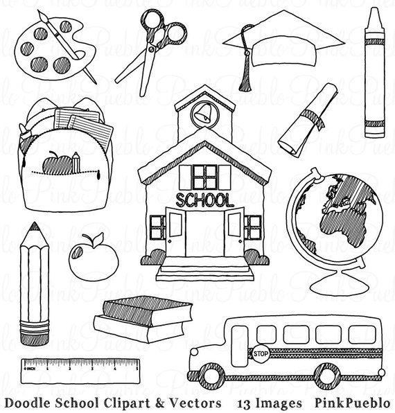Doodle School Clipart Clip Art Hand Drawn Sketched School Teacher