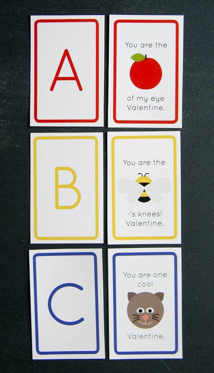 Free Printable ABC Valentines // Bright Apple Blossom // preschool teaching tools, kids valentines, flashcards, matching game, teach kids letters