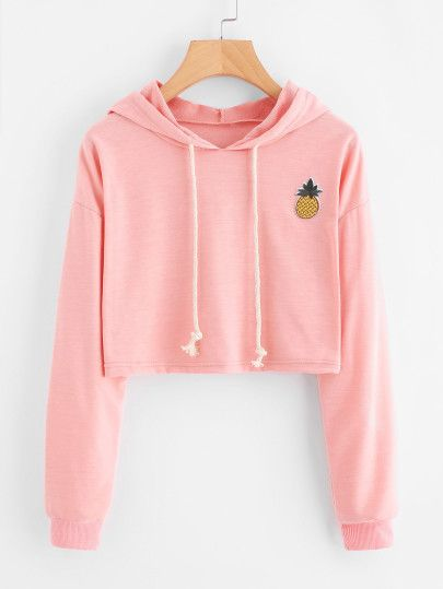 ef2d2c0664a Pineapple Patch Crop HoodieFor Women-romwe | ~ in the closet ~ in ...