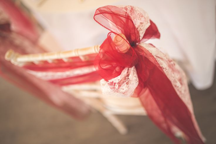 Red lace wedding chair feature