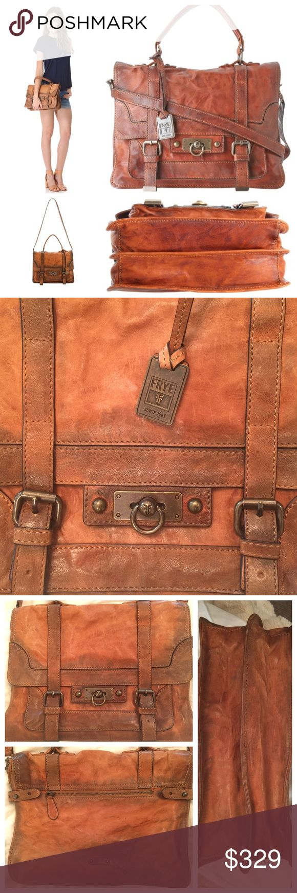 Frye Cameron Satchel in Rugged Camel, Medium Frye Cameron Satchel - very rugged, distressed leather with camel/saddle coloring. Rarely used. Good condition. (cover image=stock photos) Please refer to the last SIX photos listed for actual condition and coloring! Enlarge them on your device and ask questions if needed. The distressed leather coloring is how the purse appeared when purchased new. Equipped with top handle & detachable shoulder strap. Dust bag included. No trades  Approx…