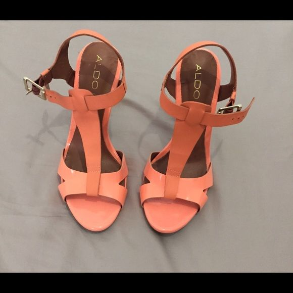 Aldo peach heels Perfect for any sundress on a hot day love these heels haven't been worn ALDO Shoes Heels