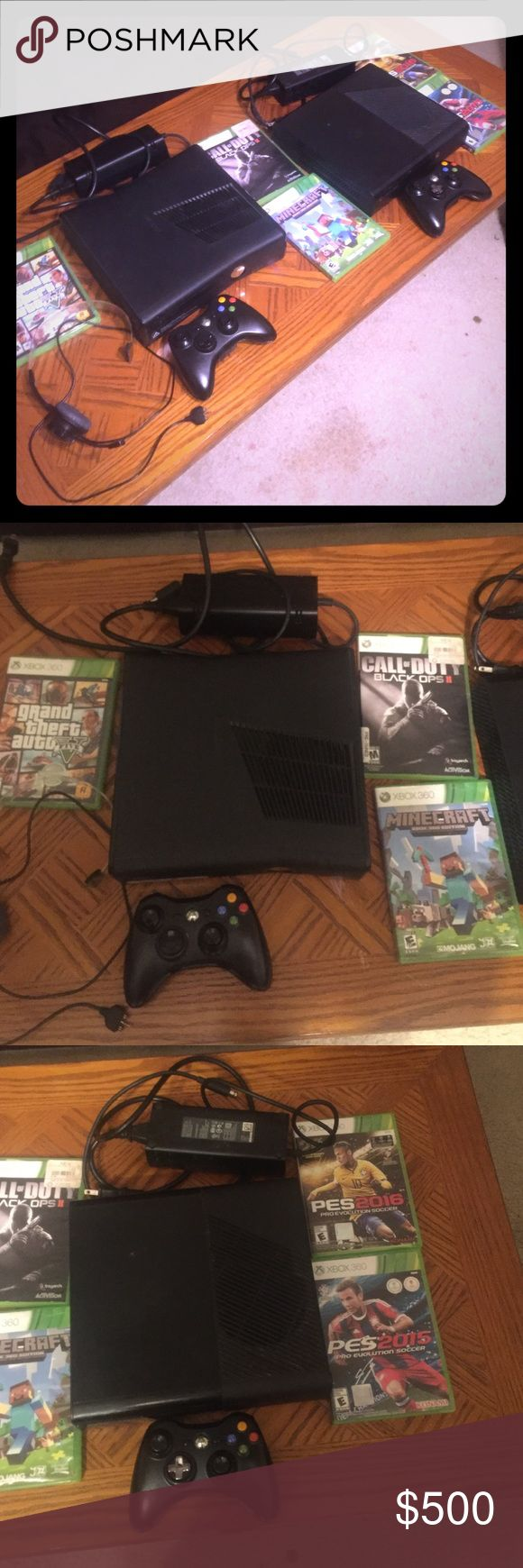 Xbox 360 There is 2 Xbox 360s and there is bo2, gta5, pes 15&16, and minecraft, 2 controllers and a head set or mic I only used them for about 10 months they work good and there is hard drives xbox Other