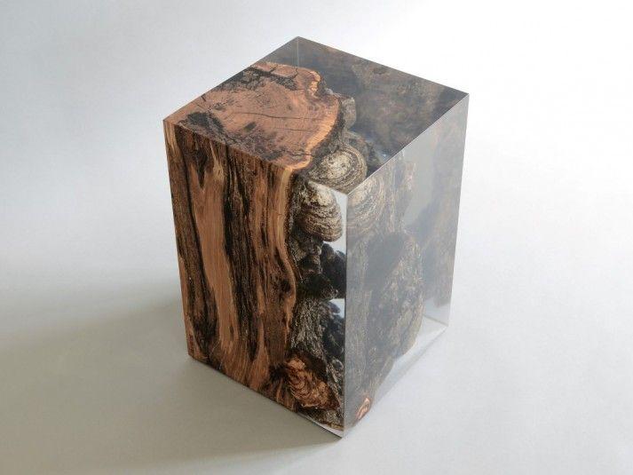 Fungi Stool  in wood and resin www.alcarol.com