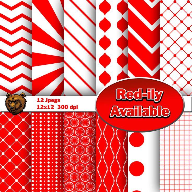 Red digital paper, scrapbooking, background by BearsDenDigitalArts on Etsy