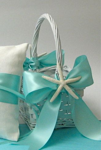 Beach Wedding Flower Girl Basket with Starfish and Aqua, Ivory, White  or Custom Color Ribbon