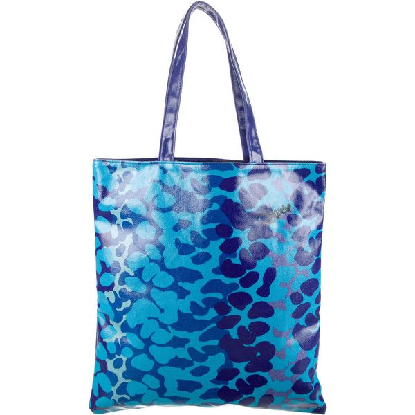 Pre-owned Diane von Furstenberg Printed Coated Canvas Tote ($65) ❤ liked on Polyvore featuring bags, handbags, tote bags, blue, tote handbags, man bag, hand bags, print tote bags and handbag purse