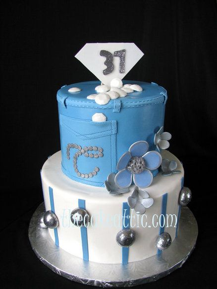 Denim and diamonds  Cake by thecakeattic
