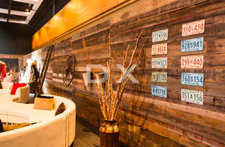 -Mur de bois de grange autoportant - Modulaire Strip blanc - Échelle Antique - Bidon de lait antique - Branches de bouleaux - Plaques d'immatriculation by DX Design
