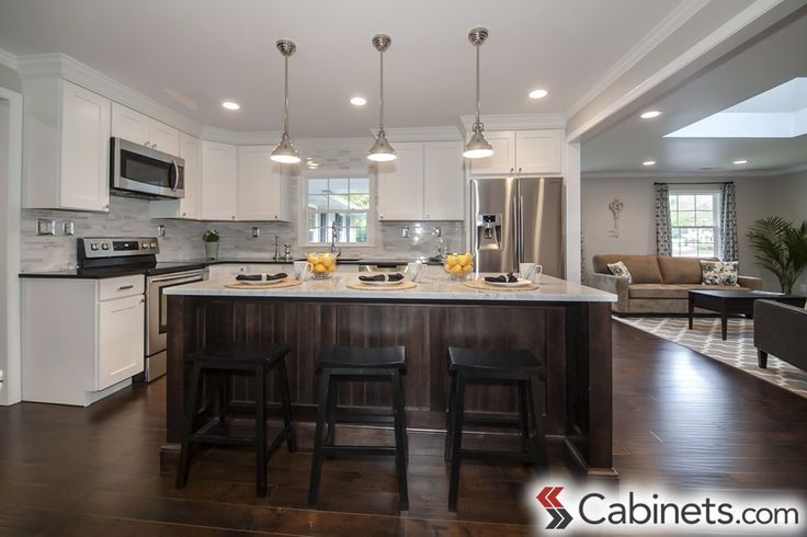 Great Example Of A Transitional Style Kitchen White Wall Cabinets Deerfield Shaker Maple