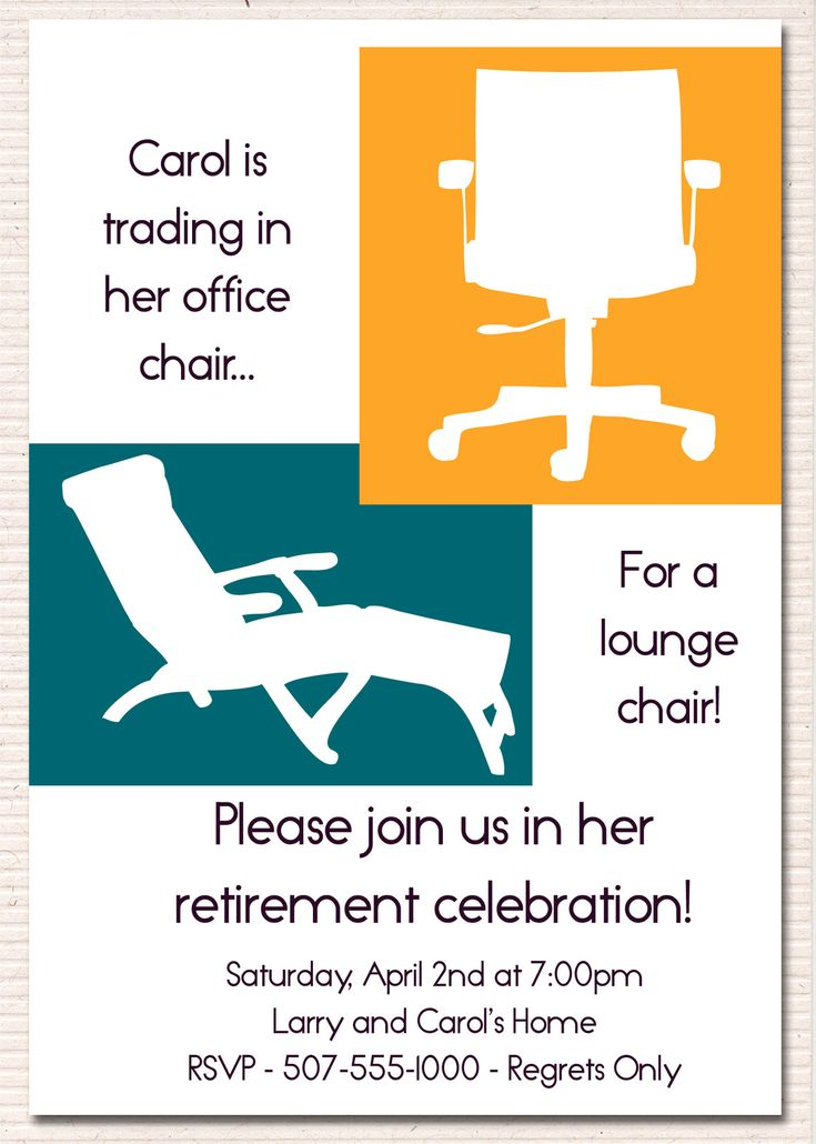 retirement party invite - Google Search- lounge chair