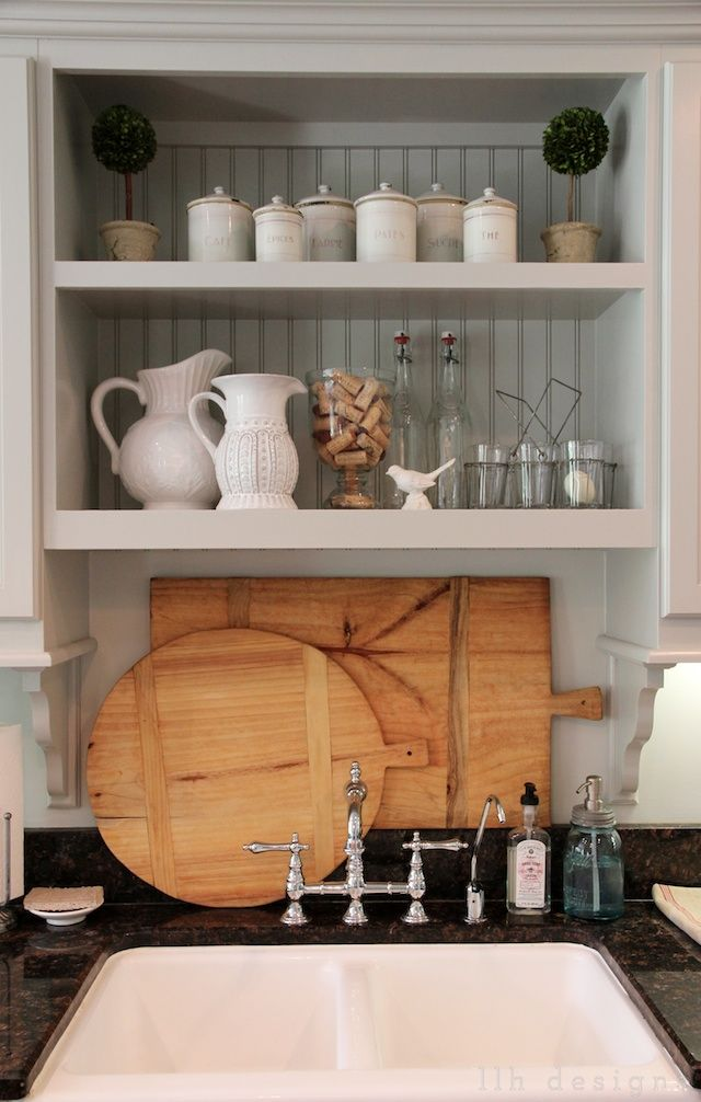 LLH DESIGNS - kitchen vignette ~ Remind me to put an extra shelf above the sink. Add attractive backing. Can't afford beadboard? Try wallpaper or scrapbook paper for an alternative. :)