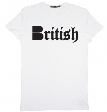 B-side British Mens tee white with black  £30.00