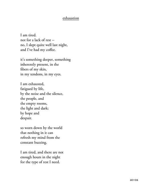 ... It's something deeper, something inherently present, in the fibers of my skin, in my tendons, in my eyes.