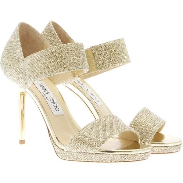 Jimmy Choo Sandals ($255) ❤ liked on Polyvore featuring shoes, sandals, gold, strappy high heel sandals, jimmy choo shoes, strap high heel shoes, high heel shoes and strap sandals